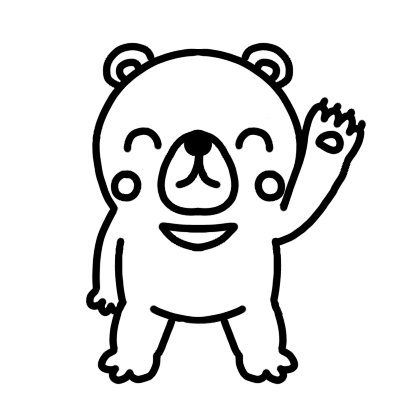 手を上げて笑顔のクマのモノクロイラスト