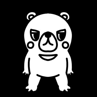 横を見るクマのモノクロイラスト