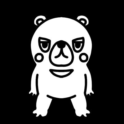 クマのモノクロイラスト