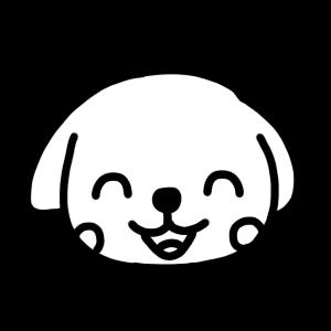 笑うイヌのモノクロアイコンイラスト