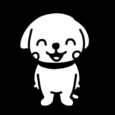 笑うイヌのモノクロイラスト