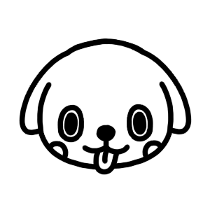 イヌのモノクロアイコンイラスト