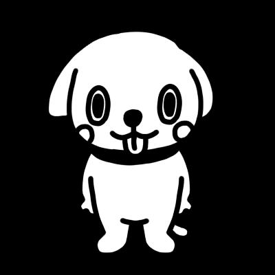 イヌのモノクロイラスト