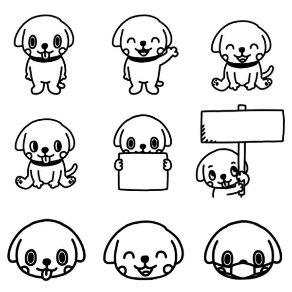 いろいろなパターンのイヌのモノクロイラスト