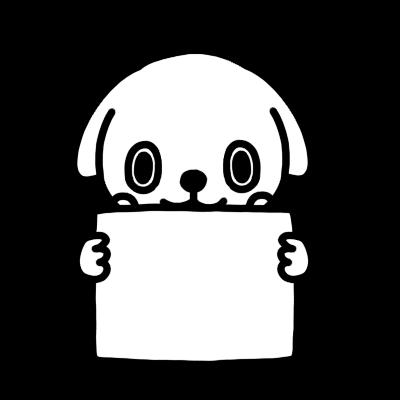 メッセージボードを持ったイヌのモノクロイラスト