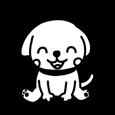 座って笑うイヌのモノクロイラスト