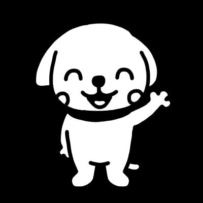 笑って手を上げるイヌのモノクロイラスト