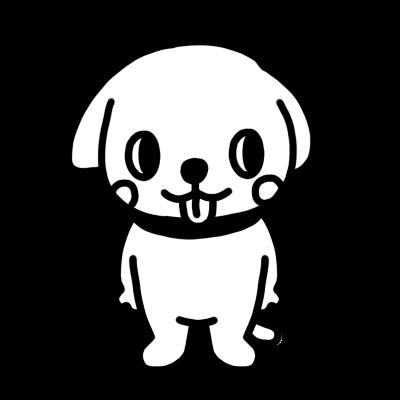 横を見るイヌのモノクロイラスト