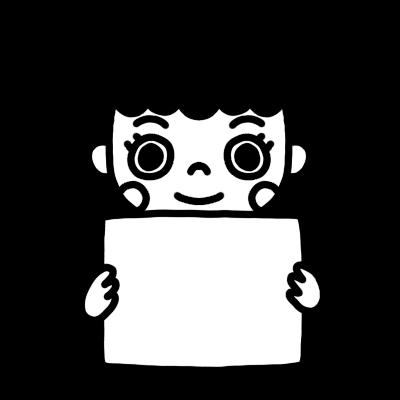 メッセージボードを持った女性のモノクロイラスト