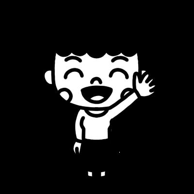手を上げる女性のモノクロイラスト