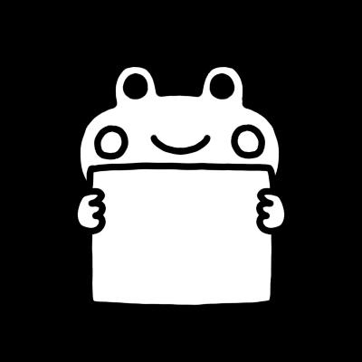 メッセージボードを持ったカエルのモノクロイラスト