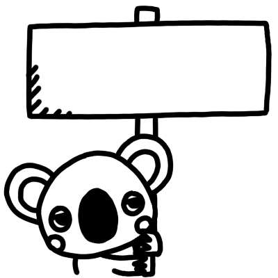 看板を持ったコアラのモノクロイラスト