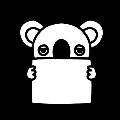 メッセージボードを持ったコアラのモノクロイラスト
