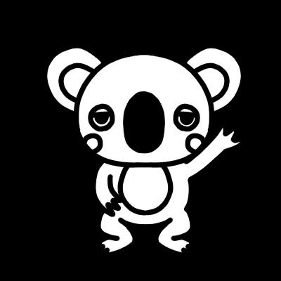 手を上げるコアラのモノクロイラスト