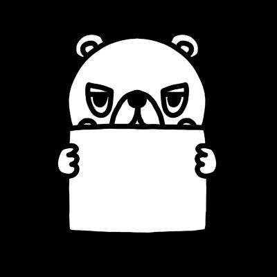 メッセージボードを持ったクマのモノクロイラスト