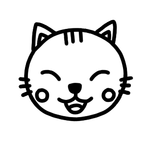 笑うネコのアイコンモノクロイラスト