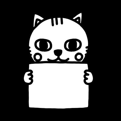 メッセージボードを持ったネコのモノクロイラスト