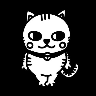 横を見るネコのモノクロイラスト