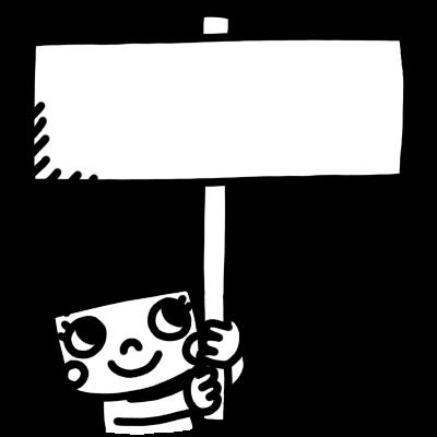 女の子が看板を持つモノクロイラスト