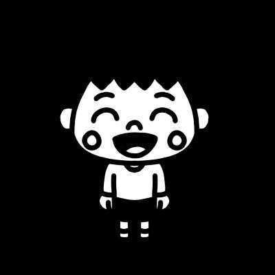 笑っている男の子のモノクロイラスト