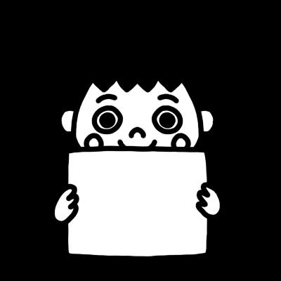 メッセージボードを持った男の子のモノクロイラスト