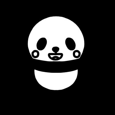 笑うパンダのモノクロイラスト