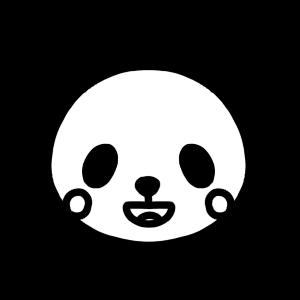 笑うパンダのモノクロアイコンイラスト