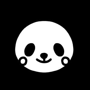 パンダのモノクロアイコンイラスト