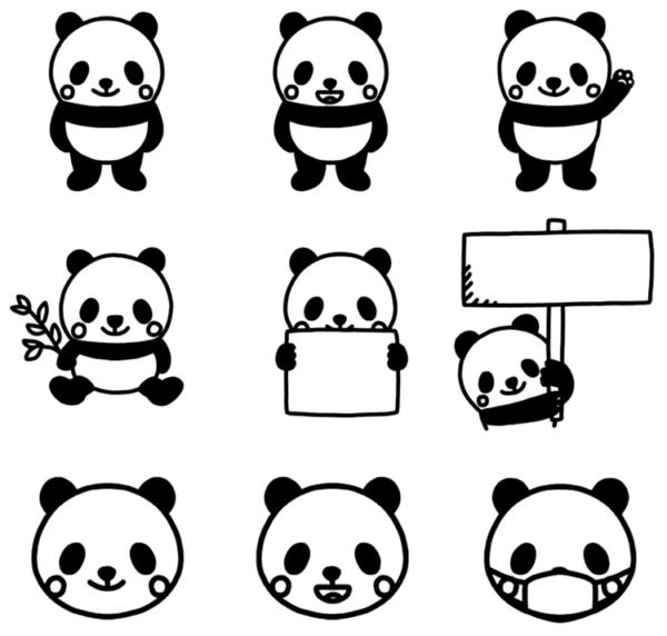 いろいろなパターンのパンダのモノクロイラスト