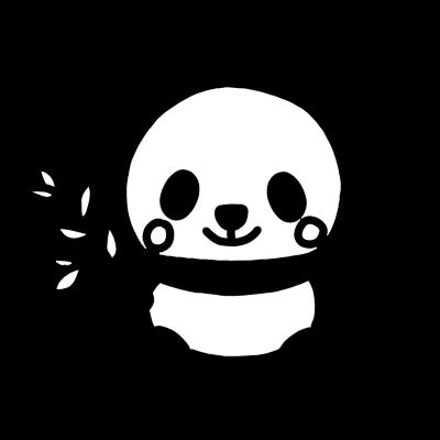 パンダのモノクロイラスト