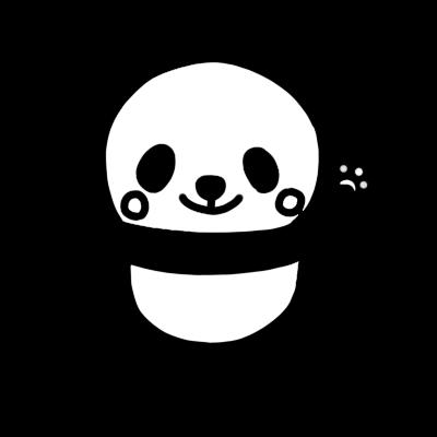 手を上げるパンダのモノクロイラスト