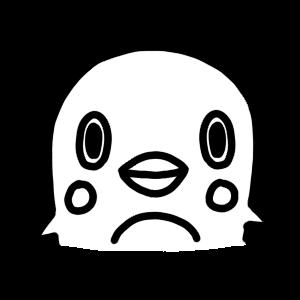 ペンギンのモノクロアイコンイラスト