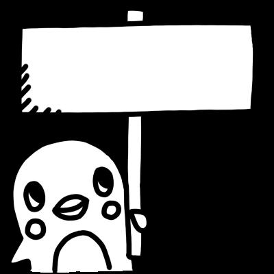 看板を持ったペンギンのモノクロイラスト