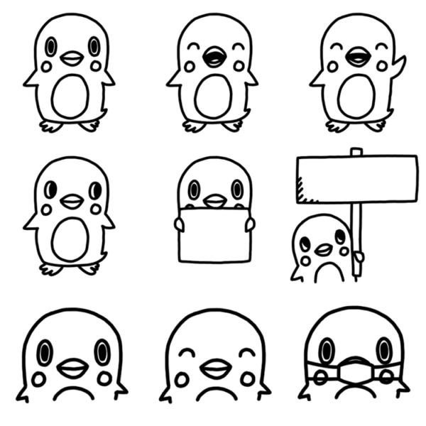 いろいろな種類のペンギンのモノクロイラスト