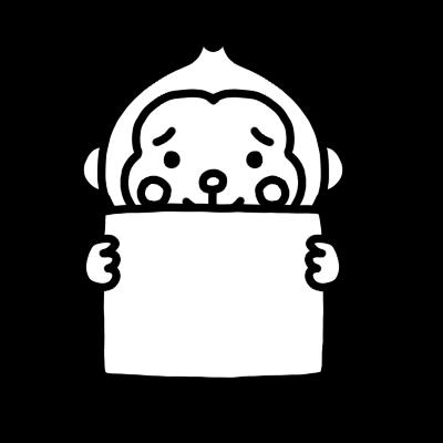 メッセージボードを持ったサルのモノクロイラスト