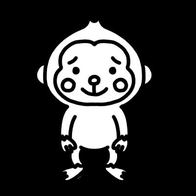 サルのモノクロイラスト
