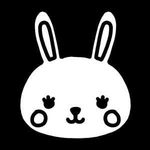 ウサギのアイコンモノクロイラスト