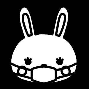 マスクをするウサギのアイコンモノクロイラスト