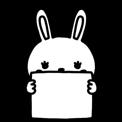 メッセージボードを持ったウサギのモノクロイラスト