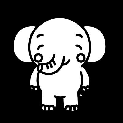 笑うゾウのモノクロイラスト