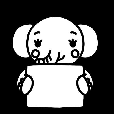 メッセージボードを持ったゾウのモノクロイラスト