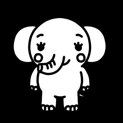 ゾウのモノクロイラスト