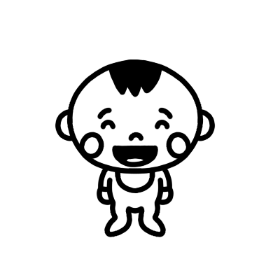 赤ちゃんが笑っているモノクロイラスト