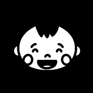 赤ちゃんが笑うモノクロアイコンイラスト