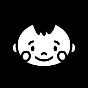 赤ちゃんのモノクロアイコンイラスト