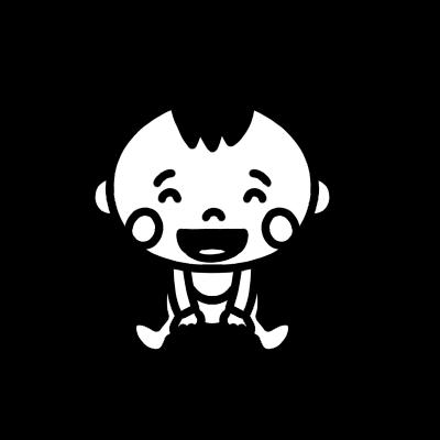 座って笑う赤ちゃんのモノクロイラスト