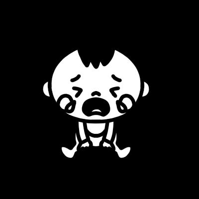 座って泣く赤ちゃんのモノクロイラスト