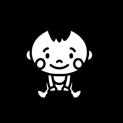 座る赤ちゃんのモノクロイラスト
