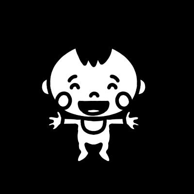 両手を広げて笑う赤ちゃんのモノクロイラスト