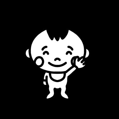 手を上げる赤ちゃんのモノクロイラスト
